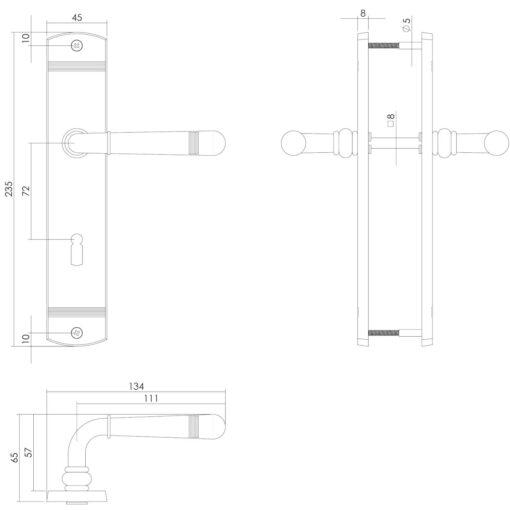 Intersteel deurklink Emily op schild sleutelgat 72 mm Koper gelakt - Technische tekening
