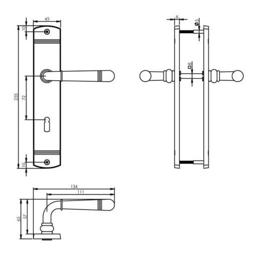 Intersteel deurklink Emily op schild sleutelgat 72 mm nikkel mat - Technische tekening