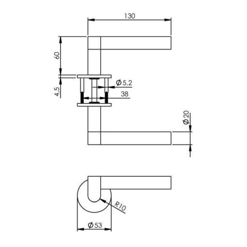 Intersteel deurklink Erik Munnikhof Dock Black met rozet INOX geborsteld - Technische tekening