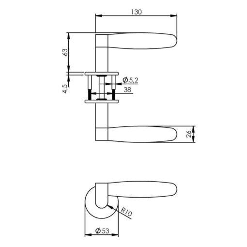 Intersteel deurklink Erik Munnikhof Dock Ton met rozet INOX gepolijst - Technische tekening