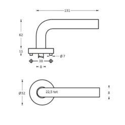 Intersteel deurklink Fabulous op rozet INOX geborsteld - Technische tekening