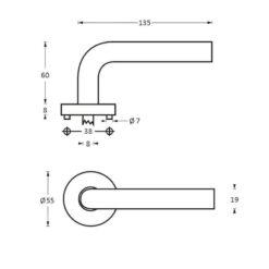 Intersteel deurklink Gebogen op rozet INOX geborsteld - Technische tekening