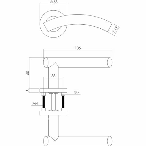 Intersteel deurklink Gebogen op rozet met 7 mm nok INOX geborsteld - Technische tekening