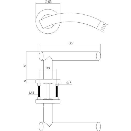 Intersteel deurklink Gebogen op rozet met 7 mm nok sleutelgat INOX geborsteld - Technische tekening
