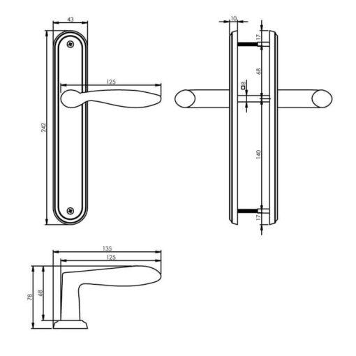 Intersteel deurklink George op schild blind nikkel mat - Technische tekening