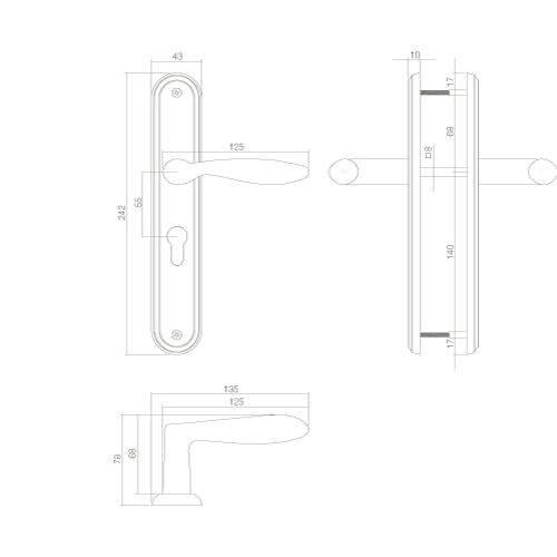 Intersteel deurklink George op schild profielcilindergat 55 mm nikkel mat - Technische tekening