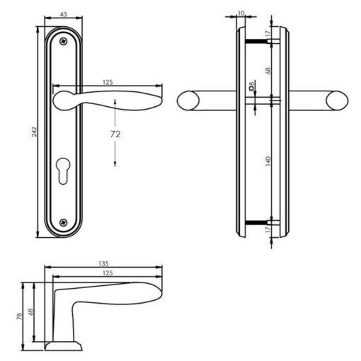 Intersteel deurklink George op schild profielcilindergat 72 mm nikkel mat - Technische tekening