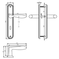 Intersteel deurklink George op schild sleutelgat 72 mm nikkel mat - Technische tekening