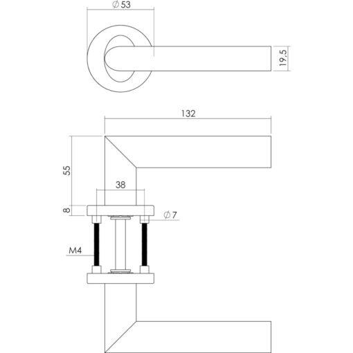 Intersteel deurklink Girona op rozet met 7 mm nok INOX geborsteld - Technische tekening