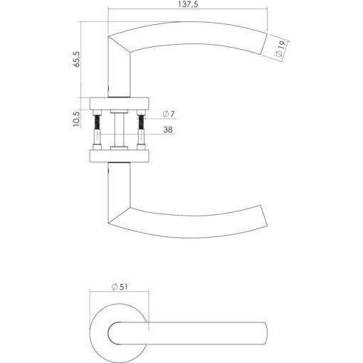 Intersteel deurklink Half Rond 90° met rozet toilet-/badkamersluiting INOX geborsteld - Technische tekening