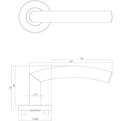 Intersteel deurklink Half Rond 90° op rozet EN1906/4 INOX geborsteld - Technische tekening