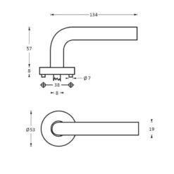 Intersteel deurklink Half Rond 90° op rozet INOX geborsteld - Technische tekening