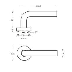 Intersteel deurklink Half Rond op rozet INOX geborsteld - Technische tekening