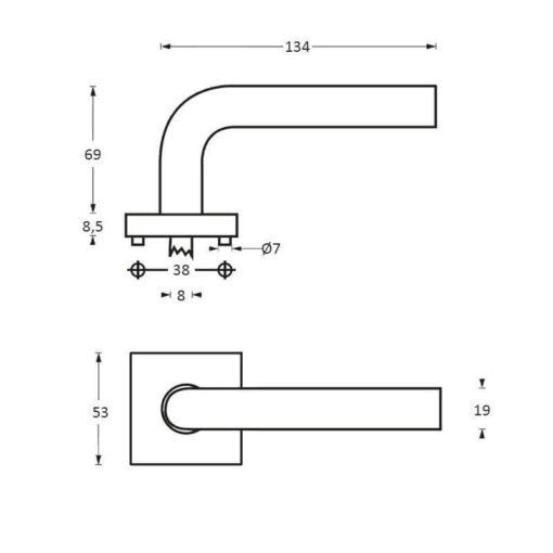Intersteel deurklink Half Rond op vierkant rozet INOX geborsteld - Technische tekening