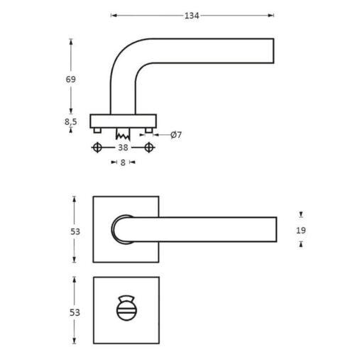 Intersteel deurklink Half Rond op vierkant rozet toilet-/badkamersluiting INOX geborsteld - Technische tekening