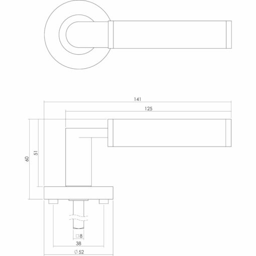 Intersteel deurklink Jean op rozet profielcilindergat chroom - Technische tekening