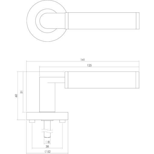 Intersteel deurklink Jean op rozet toilet-/badkamersluiting chroom - Technische tekening