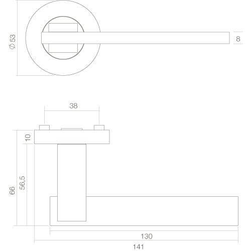 Intersteel deurklink Jim op rozet chroom - Technische tekening