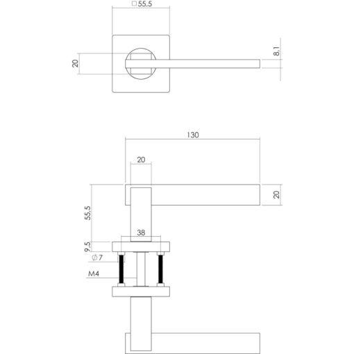 Intersteel deurklink Jim op vierkant rozet profielcilindergat chroom - Technische tekening