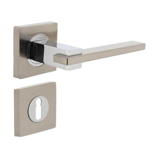 Intersteel deurklink Jim op vierkant rozet sleutelgat chroom