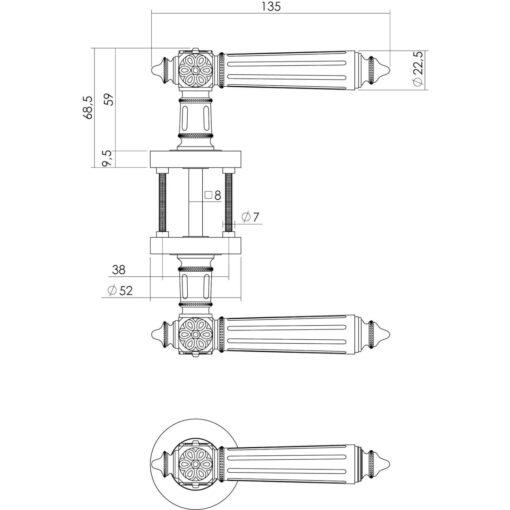 Intersteel deurklink Julietta op rozet toilet-/badkamersluiting chroom - Technische tekening