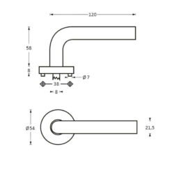 Intersteel deurklink Jupiter op rozet INOX geborsteld - Technische tekening