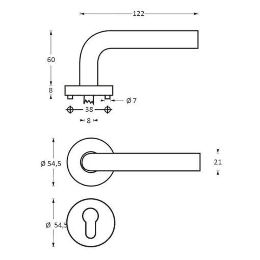 Intersteel deurklink Jupiter op rozet profielcilindergat INOX geborsteld - Technische tekening