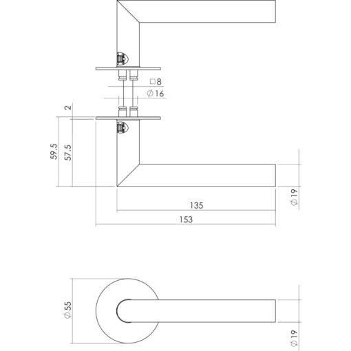 Intersteel deurklink Jura met zelfklevend rozet mat zwart - Technische tekening