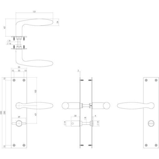 Intersteel deurklink Jutphaas op schild met sluiting mat zwart - Technische tekening