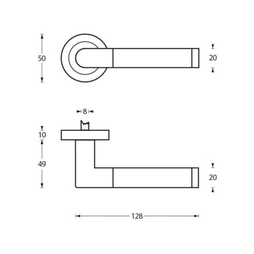 Intersteel deurklink Karina op rozet chroom/zwart - Technische tekening