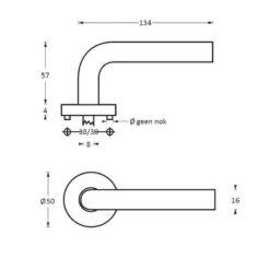 Intersteel deurklink L-hoek diameter 16 mm op rozet INOX geborsteld - Technische tekening