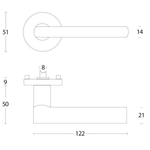 Intersteel deurklink L-hoek met rozet aluminium - Technische tekening