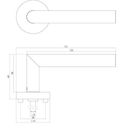 Intersteel deurklink L-hoek met rozet geveerd sleutelgat INOX geborsteld - Technische tekening
