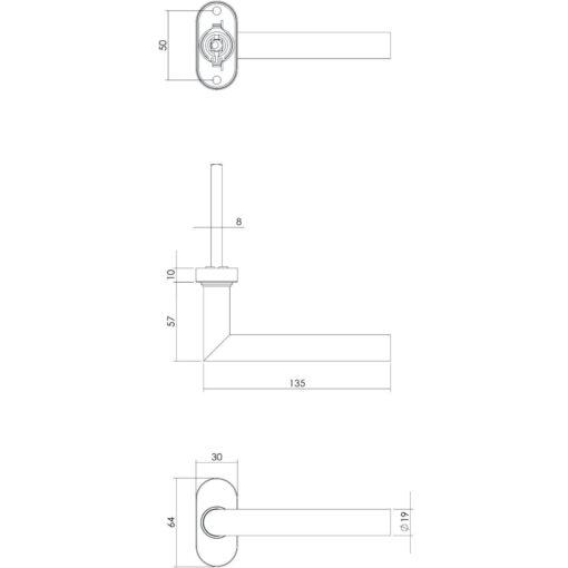 Intersteel deurklink L-hoek op ovaal rozet met ring met veer INOX geborsteld - Technische tekening
