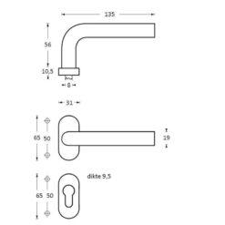 Intersteel deurklink L-hoek op ovaal rozet profielcilindergat INOX geborsteld - Technische tekening