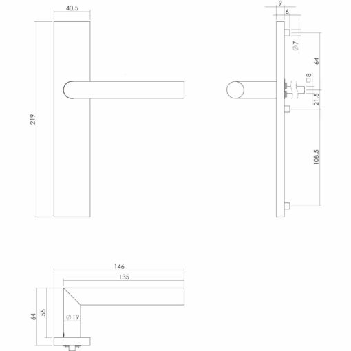 Intersteel deurklink L-hoek op rechthoekig schild blind INOX geborsteld - Technische tekening