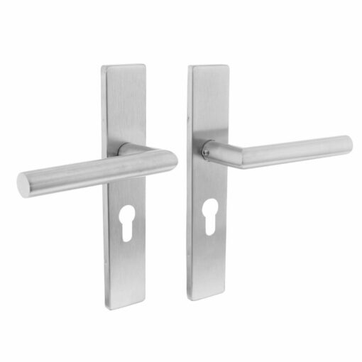Intersteel deurklink L-hoek op rechthoekig schild profielcilindergat 55 mm INOX geborsteld