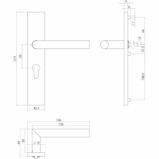 Intersteel deurklink L-hoek op rechthoekig schild profielcilindergat 55 mm INOX geborsteld - Technische tekening