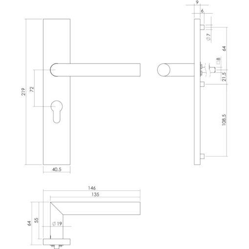 Intersteel deurklink L-hoek op rechthoekig schild profielcilindergat 72 mm INOX geborsteld - Technische tekening