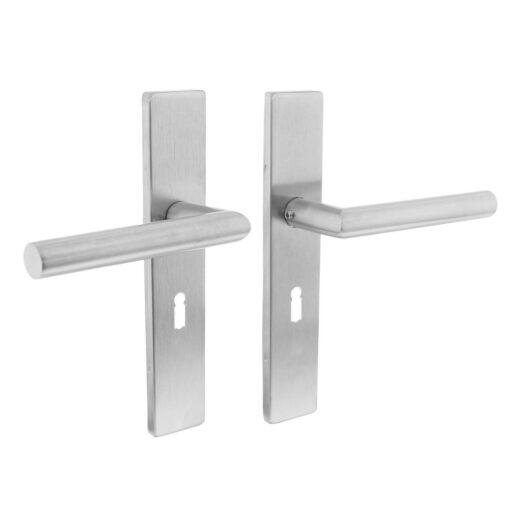 Intersteel deurklink L-hoek op rechthoekig schild sleutelgat 56 mm INOX geborsteld
