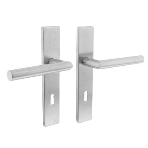 Intersteel deurklink L-hoek op rechthoekig schild sleutelgat 72 mm INOX geborsteld