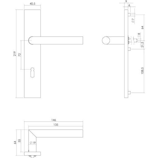 Intersteel deurklink L-hoek op rechthoekig schild sleutelgat 72 mm INOX geborsteld - Technische tekening