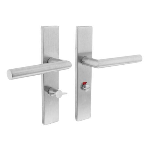 Intersteel deurklink L-hoek op rechthoekig schild toilet-/badkamersluiting 63 mm links INOX geborsteld