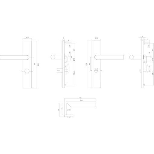 Intersteel deurklink L-hoek op rechthoekig schild toilet-/badkamersluiting 63 mm links INOX geborsteld - Technische tekening