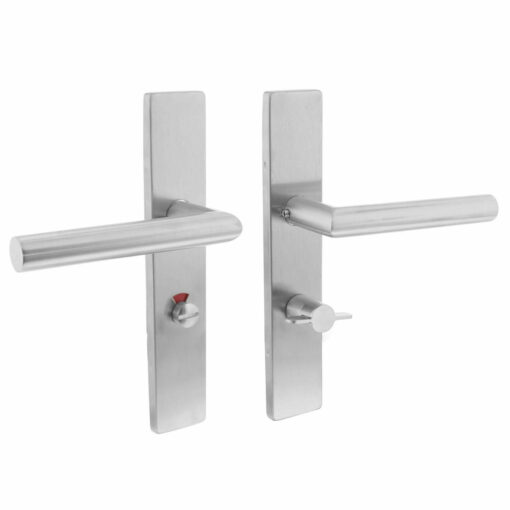 Intersteel deurklink L-hoek op rechthoekig schild toilet-/badkamersluiting 63 mm rechts INOX geborsteld
