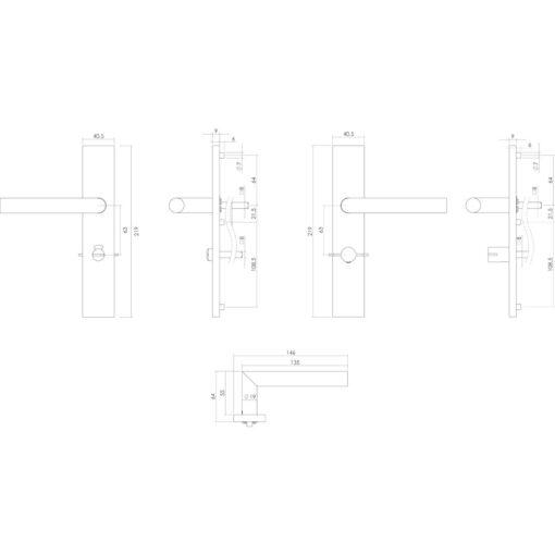 Intersteel deurklink L-hoek op rechthoekig schild toilet-/badkamersluiting 63 mm rechts INOX geborsteld - Technische tekening