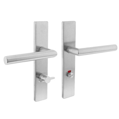 Intersteel deurklink L-hoek op rechthoekig schild toilet-/badkamersluiting links INOX geborsteld