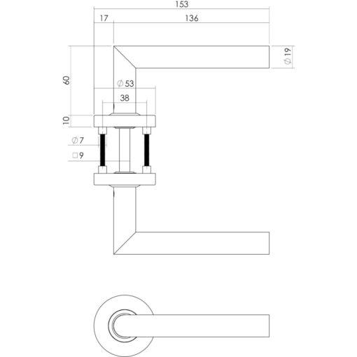 Intersteel deurklink L-hoek op rozet brandvertragend INOX geborsteld - Technische tekening