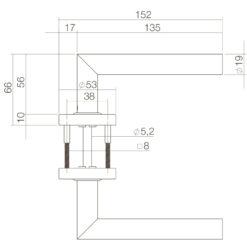 Intersteel deurklink L-hoek op rozet met ring met veer INOX geborsteld - Technische tekening