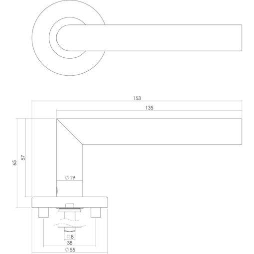 Intersteel deurklink L-hoek op rozet sleutelgat INOX geborsteld - Technische tekening